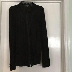 Black Glitter Rock & Republic Button-Up Blouse Lg